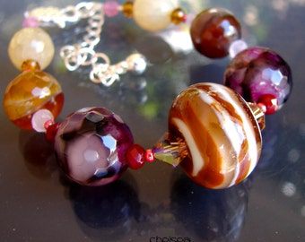 CHELSEA. Glass Beaded Bracelet. Handmade Lampwork Beads. Agates. Jewelry Art. By OPENSTUDIO, Openstudiobeads.