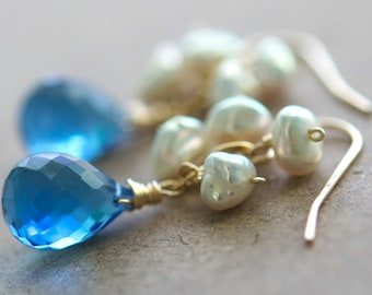 Luna Earrings, Choose Your Color Gemstone, Blue Sapphire Quartz, Natural Keshi Pearls on 14K Gold Fill Ear Wires