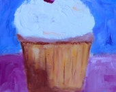 FROSTED CUPCAKE - Original Oil Painting - Pop Art - Honey's Colors - Artwork - Cup Cake - Food - Kitchen Decor - Bakery - Gift Idea - Modern