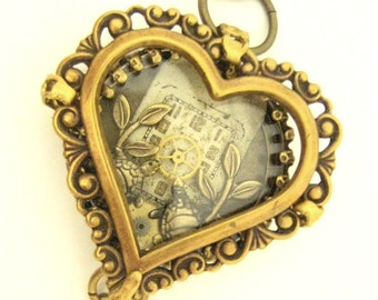 Turtle Heart Steampunk Necklace, Steampunk, Shadowbox, Steampunk Necklace, Steampunk Turtle, Victorian,Heart, One of a Kind