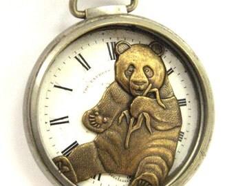 Panda Pocket , Steampunk Antique Pocket Watch Case Panda Creation, One of a Kind