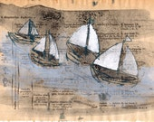 Four Sailing Boats Original Monoprint on French Book Page / benconservato