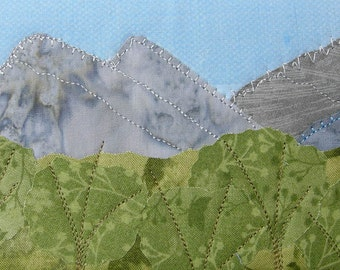 Quilt Art, Fabric Postcard, Landscape Postcard,  Greeting Card Blue Ridge Mountains, Rocky Mountains Fiber Art Nature Postcard Textile Art