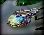 Labradorite Pendant Wind Swept Oak Leaves Wire Wrapped Woodland Design