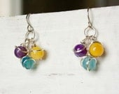 Purple, Blue and Yellow Cluster Earrings, Wire Wrapped Jewelry