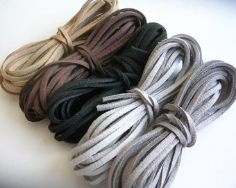 Suede Lace Faux Leather Jewelry Cord (C58) Brown Black Grey 3 yards each color for Crafts Jewelry Bracelets Necklace Stringing