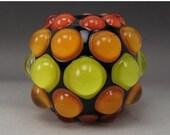 ON SALE Handmade Lampwork Glass Dot Focal Bead by Jason Powers SRA