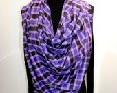 Over Sized Soft Plaid Blanket Scarf - Over Sized Blanket Scarves - Soft Plaid - Fall Fashion - Purple Black Plaid - 100% Flannel