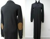 Ralph Lauren black long dress with suede leather elbow patch . size petite medium