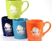 4 Squid Mugs - Sky Blue, Navy Blue, Lime Green & Tangerine Orange coffee cups