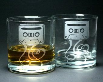 2 Cassette Mixtape Lowball Glasses - lovers of analog