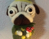 Pug elf for Betsy  needle felted  Christmas  art doll