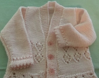 Hand Knit Baby Sweater in Pink