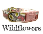 "Gray Floral Feminine Vintage Inspired Girl Dog Collar - Organic Cotton  - Antique Brass hardware - ""The Wildflowers"""