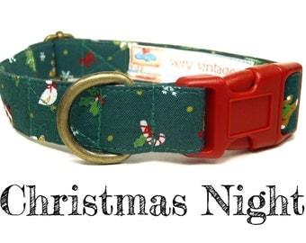 "Green Santa Goose Bear Holly Christmas Xmas Tree Winter Dog Collar - Organic Cotton - Antique Brass Hardware - ""Christmas Night"""