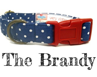 Navy Blue White Polka Dots Dog Collar -  Girl Dog Collar - Organic Cotton Dog Collar - Antique Brass Hardware - The Brandy