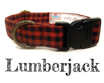 "Red Black Lumberjack Handsome Boy Preppy Plaid Dog Collar - Organic Cotton Dog Collar - All Antique Brass Hardware - ""Lumberjack"""