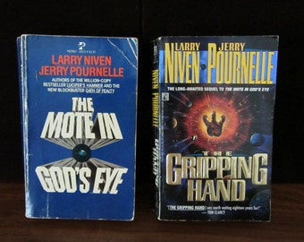 The Mote In God's Eye, And The Gripping Hand By Larry Niven And Jerry Pournelle. Paperback Books. 1974 and 1993