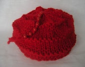 Red Chunky Knit Hat Beads