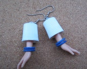 Upcycled Barbie Doll Hand earrings - Blue Bangles