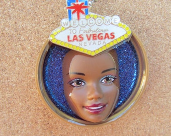 Welcome to Fabulous Las Vegas -upcycled African American Barbie bottle cap necklace