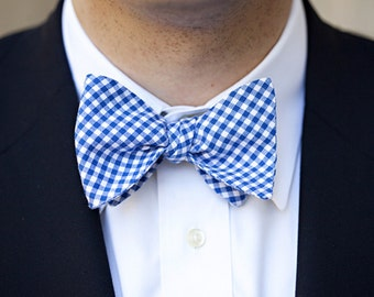 Royal Blue Mens Bowtie - Gingham Freestyle Bow Tie - Lots of Colors Available