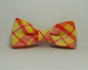 Boy's Bow tie, Yellow and Coral Plaid Bowtie, Toddler, Baby, Boy, Teen Bowtie,