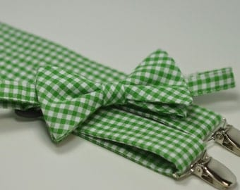 Kelly Green Gingham Bow Tie and Suspender Set, Boy's Bow Tie, Boy's Suspenders, Christmas Wedding, Ring Bearer Outfit, Toddler, Baby