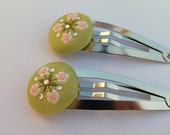 Green Covered Button Hair Barrettes with Pink Flowers and Crystals