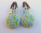 Light Blue and green paisley Covered Button Hair Barrettes