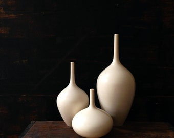 MADE TO ORDER~ 3 small white matte bottle vase by Sara Paloma