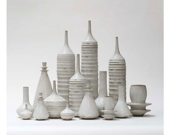 MADE TO ORDER- Grand Collection of 15 Stoneware  Ceramic Bottles Vases in White crater glaze by Sara Paloma. tabletop modern white pottery