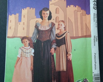 Medieval Dress Costume Pattern - McCall's 8449 misses medium 12-14