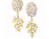 Crystal Embellished Earrings, Bridal, Swarovski, Vintage Glamorous Inspired Earrings, Wedding Jewelry