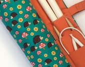 knitting needle case - knitting needle organizer - circular knitting needle case - hedgehos, mushrooms and flowers - 36 pockets