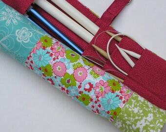 SALE - SALE - SALE - knitting needle case - retro flowers - 36 pockets