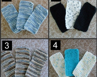 Handmade Cotton Knitted Dish Cloth Rag - SET OF 3 - You Choose the Set