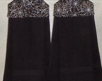 SET of 2 - Hanging Cloth Top Kitchen Hand Towels - Metallic Silver SPIDER WEB Print, Black Towels