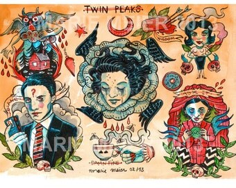 Giclee print Twin Peaks tattoo flash