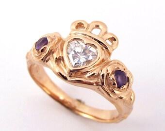 Irish Rose Ring - Gifts for Her Celtic Promise Roses Amethyst Heart Diamond Wedding Alternative Unique Sterling Silver Engagement Moissanite