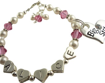 Design your colors & personalization: Name Bracelet for Girls- Big Sister Charm- Swarovski-Silver- Rose pink crystals and white pearls