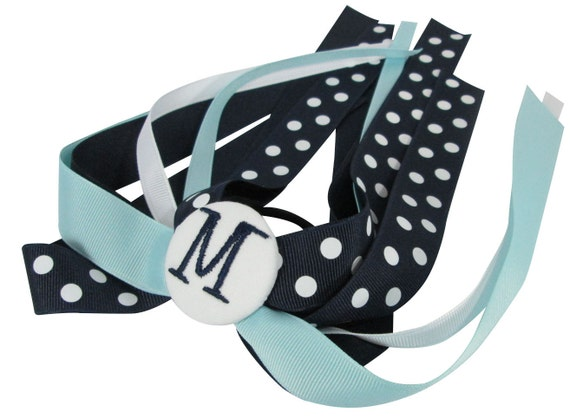 Navy & Light Blue Polka Dot Hair Bow for Girls, Ponytail Streamer bow with personalized monogramed initial and choose any ribbon colors