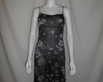 90s floral sheer sparkly dress, see through dress