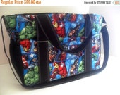Extra Large Diaper bag Made of Marvel / Avengers Super Hero / Comic Book Fabrics - Diaper Bag - Marvel Diaper Bag - Avengers Diaper Bag