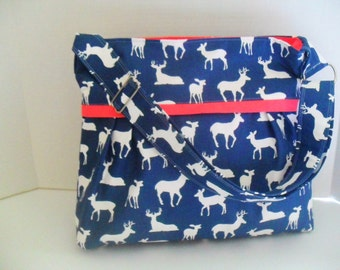Diaper Bag - Deer Diaper Bag - Messenger Bag - Navy Blue Deer - Coral