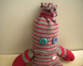 sock monster red gray stripe