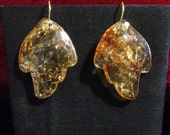 Large choice of color acrylic leaf earrings on sealed gold plated wires