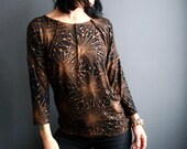 Ambitious Outsider - iheartfink Handmade Hand Printed Womens Black Metallic Copper Starburst Print Jersey Top