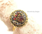 Garnet Red Vintage Assemblage Ring Elegant Rhinestone One-of-a-kind Gold Plated Ring Mixed Media Clay