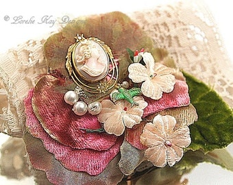 Hand Sewn Cameo Brooch Pink Cameo Pin Fiber Wearable Art One-of-a-Kind Jewelry Broach Pin